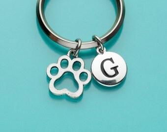 Dog Paw Print Keychain, Dog Paw Print Key Ring, Initial Keychain, Personalized Keychain, Custom Keychain, Charm Keychain, 106