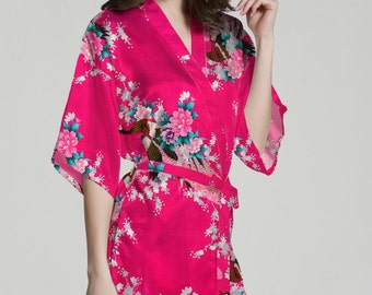 Rose silk robes cheap bridal gifts ideas wedding attendant gifts bridal robes cheap personalized robes for bridesmaid gift silk robes