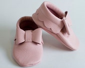 Pink Leather Baby Moccasins with Bows, Baby Moccasin
