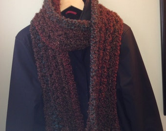 Chunky Crochet Scarf - Brown tones
