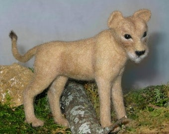 Realistic Needle Felted Lioness, *Free Shipping