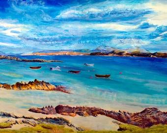 Mull from Iona Canvas Print, Mother's Day Print, Blue Wall Art, Limited Edition Fine Art Print Aska Scottish Artist, Coastal Artwork