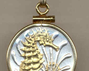"Necklace - Gorgeous 2-Toned ""Gold on Silver"" Singapore ""Seahorse"",  Coin Necklaces"