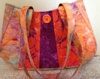 Lucious in Orange Batik Fabric Purse