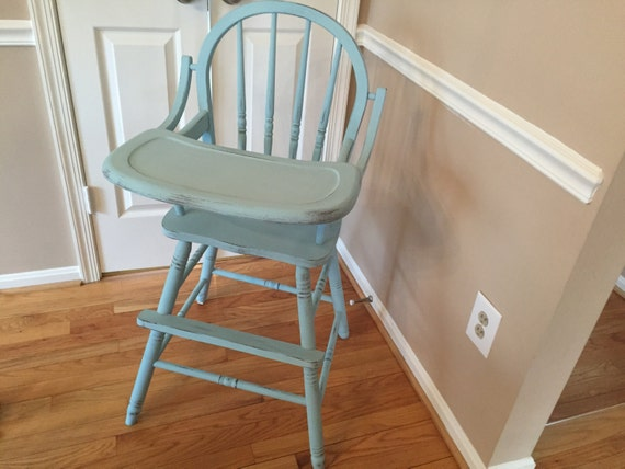 SALE Hand painted all wood classic high chair