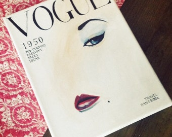 Vintage Vogue Cover Canvas Painting
