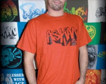 "Tee shirt ASKAN UNITED ""Graff"" - Tee shirt Orange Antique - black ink cartridge"