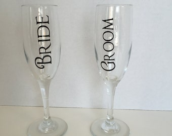 Bride and Groom Champagne Glasses, Custom Bride and Groom Champagne Glasses, Bride and Groom Champagne Flutes, Bride and Groom Drinkware