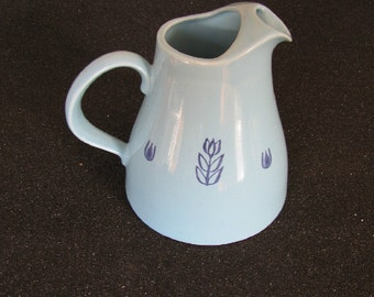 Vintage Cronin Pottery Blue Tulip Juice or Water Pitcher, Blue Mid Century Pitcher, Shabby Chic Pitcher, USA