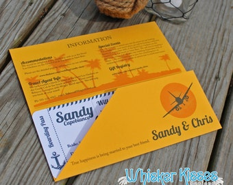Boarding Pass Wedding Invitation or Save the Date, Tie the Knot, Cruise Theme, Destination, Ticket, Passes, Nautical, Anchor, Unique