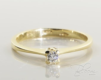 Classic Engagement Ring Delicate Diamond Ring 18K Solid Gold Ring Real Diamond Ring Gold Engagement Ring Minimalist Engagement Ring