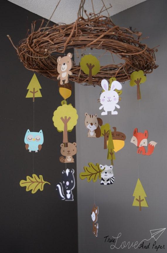 Woodland Forest Animal Paper Mobile Chandelier