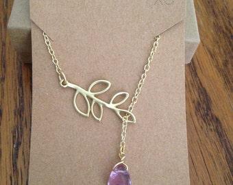 "Satin Gold Branch Purple Teardrop Necklace Leaf Drop Pendant 19"" Total Length Lavender"