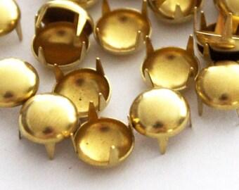 25 pcs 9 mm Diameter Raw Brass Spike Buttons