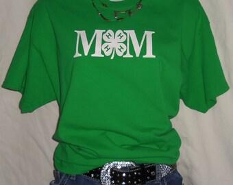Green Clover 4-H Mom T-Shirt Livestock Show Tee Shirt