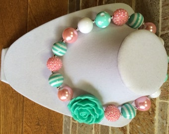 Bubblegum Necklace, Mint, Pink, White, Chunky Bubblegum Necklace, Chunky Bead Necklace, Girls Gumball Necklace, Photo Prop, Mint Rose