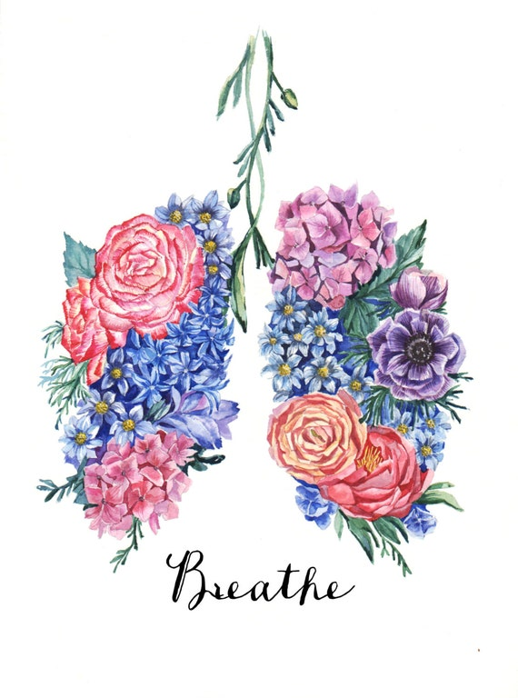 Lungs With Flowers Coloring Page