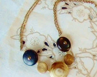 Creamy Brown Jewelry  Wood Jewelry  Vintage Button Necklace