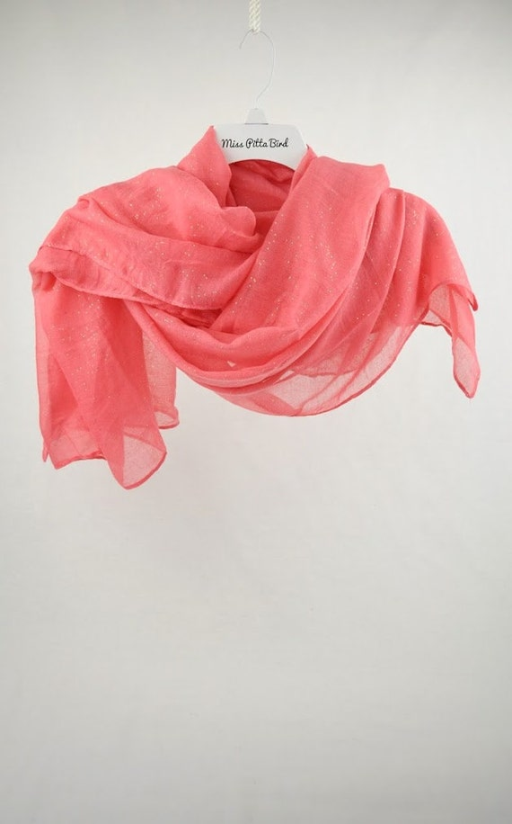 bright pink scarf with glitter large scarf by misspittabird