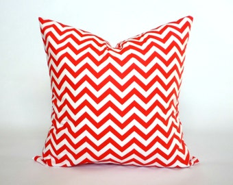 "Red and White Chevron Pillow Cover, Decorative Throw Pillow, Accent Pillow, Pillow Sham, 14x14"", 16x16"", 18x18"", 20x20"""