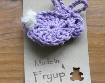Crochet bunny brooch