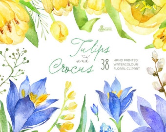 Tulips & Crocus Spring Flowers Separate Clipart. Handpainted watercolor, diy floral elements, wedding, invitations, greetings, frames,