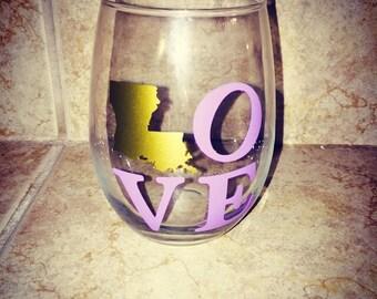 Louisiana LOVE Stemless Wine Glass