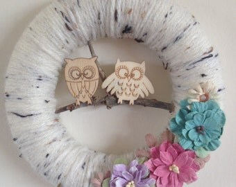 Owl and flower wool wreath