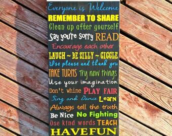 Playroom Rules, Wood Sign, Playroom Sign, Custom Sign, Rules Sign