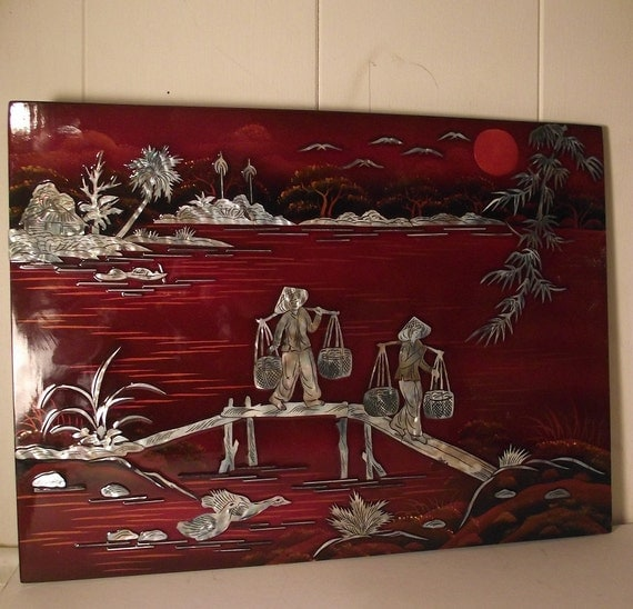 mother of pearl inlay wall plaque picture wood japanese asian. Black Bedroom Furniture Sets. Home Design Ideas