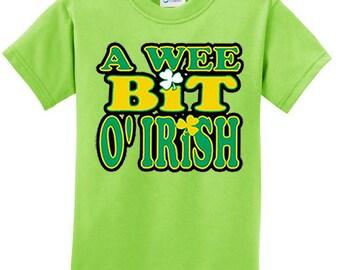St Patrick's Day Kid's Shirt A Wee Bit Irish Tee T-Shirt A10000-PC61Y