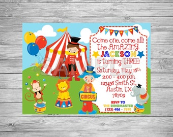 Circus Birthday Party Invitation, Carnival Birthday Party Invitation, Printable Circus Invitation, Printable Carnival Invitation