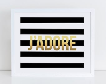 Jadore Art Print, Instant Download, Printable Decor, Digital Art Print, French Quote Art Print, Fashion Illustration, Paris Wall Decor
