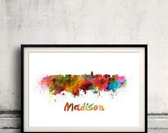 Madison skyline in watercolor over white background with name of city 8x10 in. to 12x16 in. Poster Wall art Illustration Print  - SKU 0260