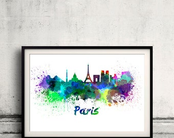 Paris skyline in watercolor over white background with name of city 8x10 in. to 12x16 in. Poster Wall art Illustration Print  - SKU 0296