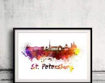 St Petersburg skyline in watercolor over white background with name of city 8x10 in. to 12x16 in. Poster art Illustration Print  - SKU 0338