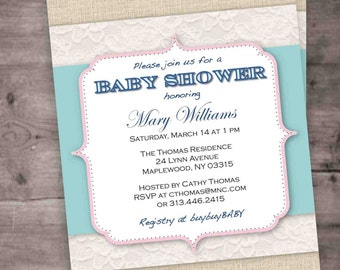 Rustic Burlap Lace DIY Baby Shower Invitation - Neutral Boy or Girl - PDF - Instant Download
