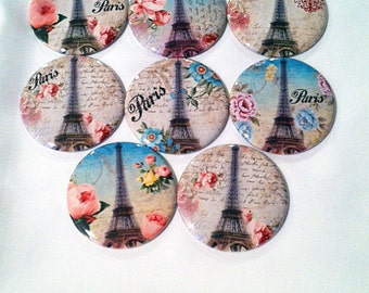 Set of 8 Paris and Flowers Pocket mirrors, Bridesmaid gift, Wedding favor, Shower gift, Compact Mirror, Small gift