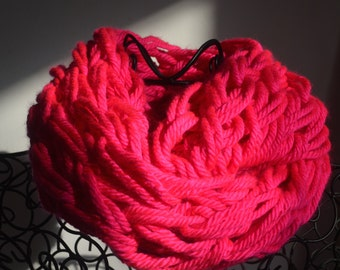 Neon Pink Arm Knit Infinity Scarf