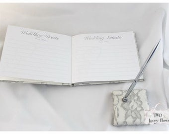 Wedding Guest Pen and Pen Holder Set Custom Lace Bridal Pen Set in Ivory and Silver