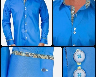 Blue with Metallic Gold Designer Dress Shirt - Made To Order in USA