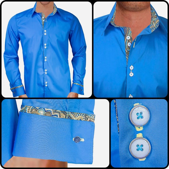 blue with metallic gold designer dress shirt made to order