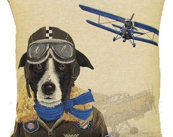 Border Collie Bomber Pilot Pillow Cover - 18x18 Belgian Tapestry Cushion Cover - PC-5154