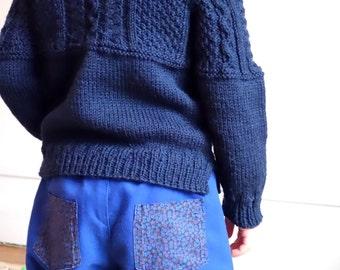 "Kid sweater ""Sarnia"", Gansey inspired - English French"
