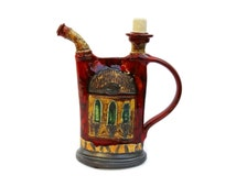 Ceramics and Pottery Handmade Ceramic Bottle, Pottery Pitcher, Hand Thrown Pitcher, Hanpainted Clay Jug, Kitchenware