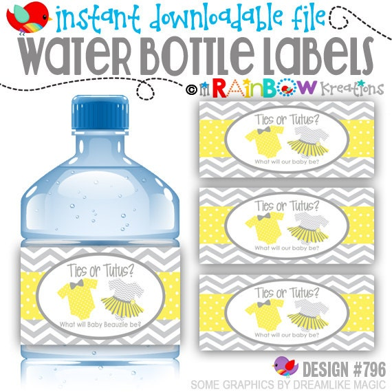 WBW-796: DIY - Ties or Tutus Water Bottle Wrappers - Instant Downloadable File