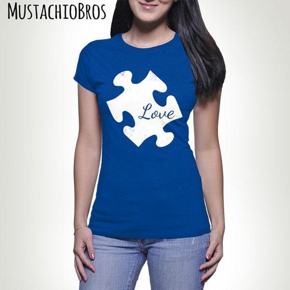 LOVE Autism Puzzle Piece T-shirt Tshirt Tee shirt Tee Autistic