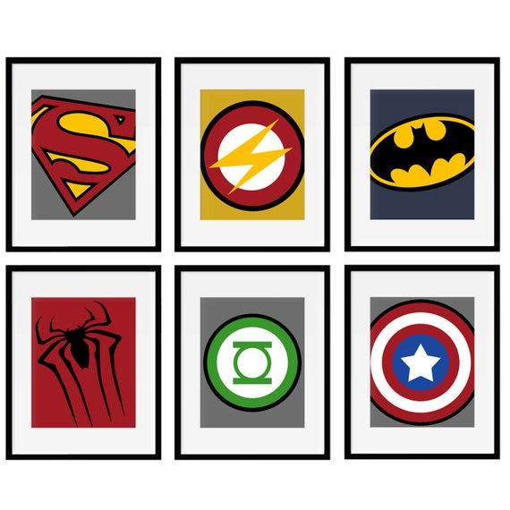 Canvas set of 6 superhero logo wall art prints by for Superhero wall art