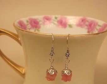 Cherry Quartz & Sterling Silver Beaded Earrings