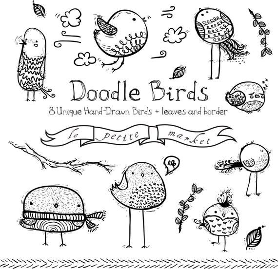 Cute Hand Drawn Bird Clipart Hand drawn birds Bird Graphics
